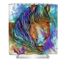 Bucky The Mustang In Watercolor Shower Curtain by Marcia Baldwin
