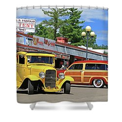 Shower Curtain featuring the photograph Bud Tent Hot Rods by Christopher McKenzie