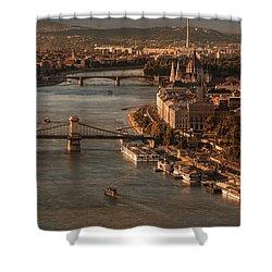 Budapest In The Morning Sun Shower Curtain by Jaroslaw Blaminsky