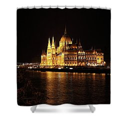 Shower Curtain featuring the digital art Budapest - Parliament by Pat Speirs