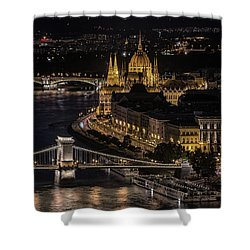 Budapest View At Night Shower Curtain by Jaroslaw Blaminsky