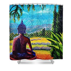 Buddha Atop The Lavender Farm Shower Curtain