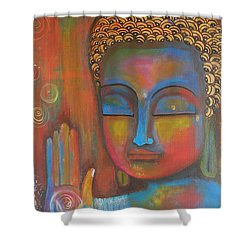 Shower Curtain featuring the painting Buddha Blessings by Prerna Poojara