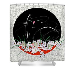 Shower Curtain featuring the mixed media Buddha Cat by Larry Talley