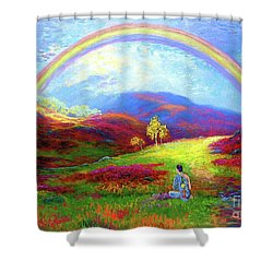 Buddha Chakra Rainbow Meditation Shower Curtain