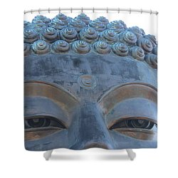 Buddha Eyes, Ngong Ping Village, Hong Kong Shower Curtain by Jennifer Mazzucco