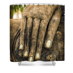 Buddha Hand Shower Curtain by Adrian Evans