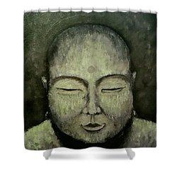 Buddha In Green Shower Curtain