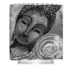 Shower Curtain featuring the mixed media Buddha In Grey Tones by Prerna Poojara