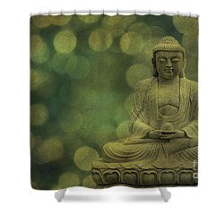 Buddha Light Gold Shower Curtain by Hannes Cmarits