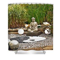 Buddha Looks At Yin And Yang Shower Curtain