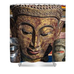 Buddha Masks Hadicrafts Shower Curtain