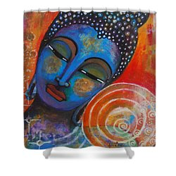 Shower Curtain featuring the painting Buddha by Prerna Poojara