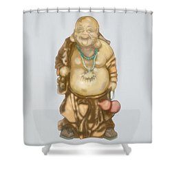 Shower Curtain featuring the mixed media Buddha by TortureLord Art