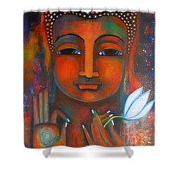 Buddha With A White Lotus In Earthy Tones Shower Curtain by Prerna Poojara