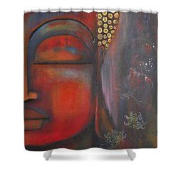 Shower Curtain featuring the painting Buddha With Floating Lotuses by Prerna Poojara