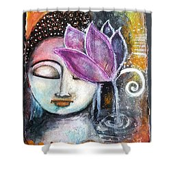 Buddha With Torn Edge Paper Look Shower Curtain by Prerna Poojara