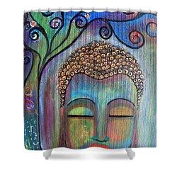 Buddha With Tree Of Life Shower Curtain by Prerna Poojara
