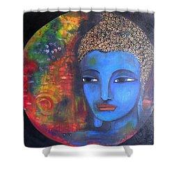 Buddha Within A Circular Background Shower Curtain by Prerna Poojara