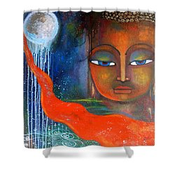Shower Curtain featuring the painting Buddhas Robe Reaching For The Moon by Prerna Poojara