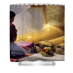 Shower Curtain featuring the photograph Buddhist Thai People Praying by Heiko Koehrer-Wagner