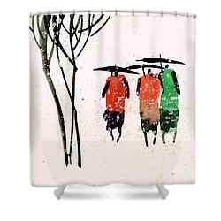 Buddies 3 Shower Curtain by Anil Nene