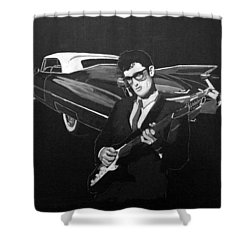 Buddy Holly And 1959 Cadillac Shower Curtain