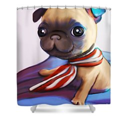 Buddy The Pug Shower Curtain by Catia Cho