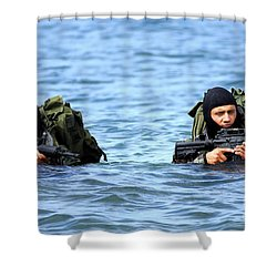 Buds Students Wade Ashore During An Shower Curtain by Stocktrek Images