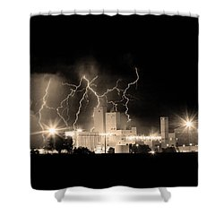 Budweiser Lightning Thunderstorm Moving Out Bw Sepia Crop Shower Curtain by James BO  Insogna