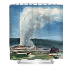 Buffalo And Geyser Shower Curtain