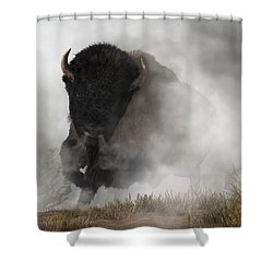 Buffalo Emerging From The Fog Shower Curtain