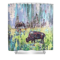 Shower Curtain featuring the painting Buffalo Grazing by Cheryl McClure