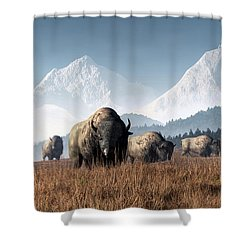 Shower Curtain featuring the digital art Buffalo Grazing by Daniel Eskridge