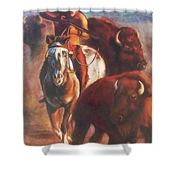Shower Curtain featuring the painting Buffalo Hunt by Karen Kennedy Chatham