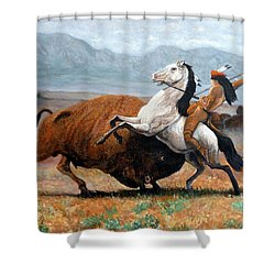 Buffalo Hunt Shower Curtain by Tom Roderick