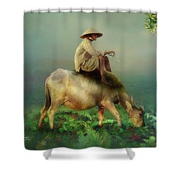 Shower Curtain featuring the photograph Buffalo In The Mist by Wallaroo Images