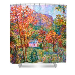 Shower Curtain featuring the painting Buffalo Mountain In Fall by Kendall Kessler