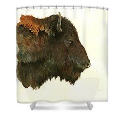 Buffalo Portrait Head Shower Curtain by Juan  Bosco