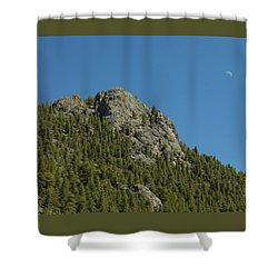 Shower Curtain featuring the photograph Buffalo Rock With Waxing Crescent Moon by James BO Insogna