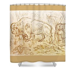 Shower Curtain featuring the drawing Buffalo Trail  by Larry Campbell