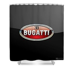Bugatti - 3 D Badge On Black Shower Curtain by Serge Averbukh