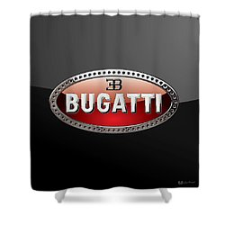 Bugatti - 3d Badge On Black Shower Curtain by Serge Averbukh