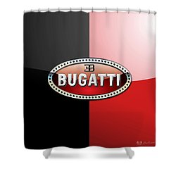 Bugatti 3 D Badge On Red And Black  Shower Curtain by Serge Averbukh