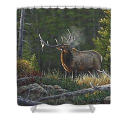 Bugling Bull Shower Curtain