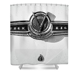Shower Curtain featuring the photograph Buick V Eight Monotone by Dennis Hedberg