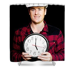Builder With Clock Showing Home Time Shower Curtain by Jorgo Photography - Wall Art Gallery