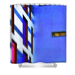 Shower Curtain featuring the digital art Building Block - Blue by Wendy Wilton