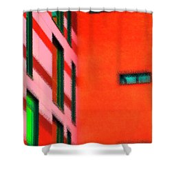 Shower Curtain featuring the digital art Building Block - Red by Wendy Wilton