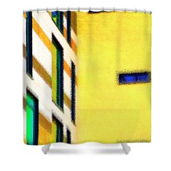 Shower Curtain featuring the digital art Building Block - Yellow by Wendy Wilton